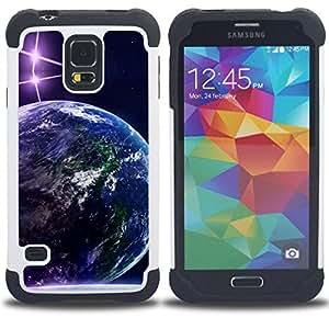 BullDog Case - FOR/Samsung Galaxy S5 I9600 G9009 G9008V / - / Space Planet Galaxy Stars 70 /- H??brido Heavy Duty caja del tel??fono protector din??mico - silicona suave