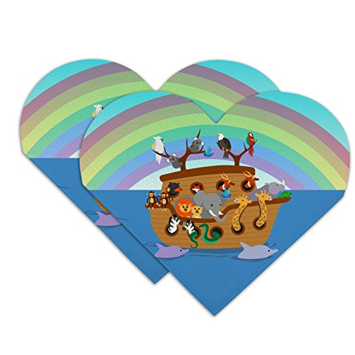 Noah's Ark with Animals Heart Faux Leather Bookmark - Set of 2 Noahs Ark Bookmark