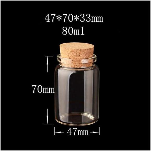 FANXQ Las Botellas de 80 ml de Vidrio con Corcho Pequeño Mini Transparente de Cristal vacía de Viales tarros Recipiente Transparente Alimentos Botlles Ecológico