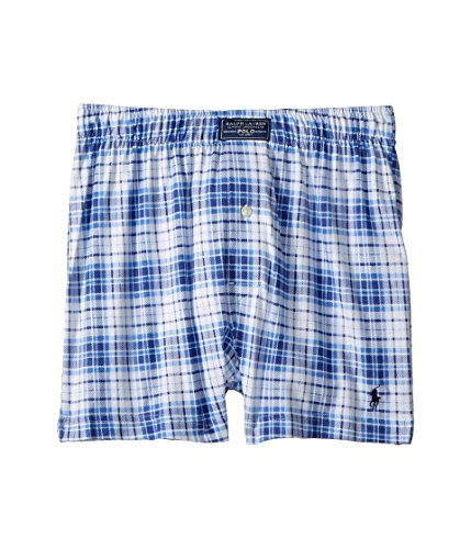 (Polo Ralph Lauren Men's 1/20 Cotton Modal Boxer Ocean Plaid/Cruise Navy Pp Large)