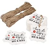 Aprince Paper Favor Gift Tags Wedding Favor Gift Tags Hug & Kisses from The New Mr & Mrs 100 PCS White Square Tags with 20m Natural Jute Twine Perfect for Bridal Baby Shower Anniversary White