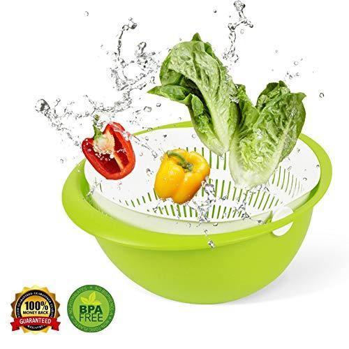 - kitchen Strainer,Basket strainer Versatile 2-In-1 Colander and kitchenStrainer/Colander & Bowl Sets, Detachable Colanders Strainers Set,Vegetables & Fruits Vegetable Cleaning Washing Mixing, Green.
