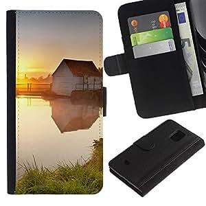 KingStore / Leather Etui en cuir / Samsung Galaxy S5 Mini, SM-G800 / Sunset Beautiful Nature 78