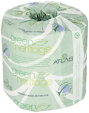 "Green Heritage 115 4.1"" Length x 3.1"" Width, 1-Ply Bathroom Tissue (Case of 96 Rolls, 1000 per Roll)"