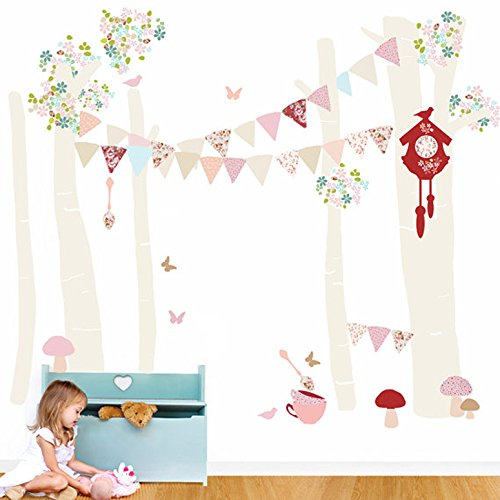Oopsy Daisy Birch Tree Forest Vintage Girl Peel and Place, Neutral/Pastel/Pink, 54'' x 60''