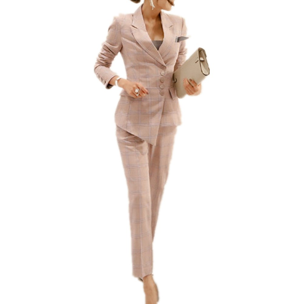Women's Elegant Business Slim Fit Two Piece Office Lady Blazer and Pants Suit Set (US L/Asia XL)