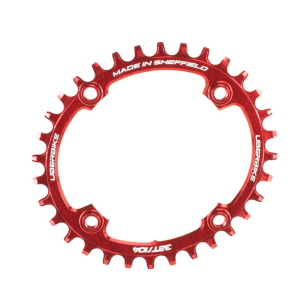 Uberbike Made In Sheffield Oval 104 BCD Advantage Narrow Wide Chainring 34T - Red