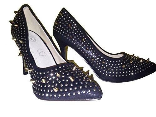 3-W-Hohenlimburg Extravagante Hardcore Stiletto Pumps High Heels. Rot oder Schwarz. mit abstehenden Nieten, Damenschuhe, PHH123. der Ganz Besondere Schuh für Damen. Schwarz