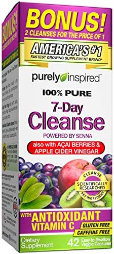 Purely Inspired Organic 7 Day Cleanse, Unique Senna Leaf Extract Formula with Antioxidant (Vitamin C), Superfruits, Probiotic & Digestive Enzymes, 42 Count (packaging may vary)
