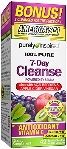 Purely Inspired Organic 7 Day Cleanse, Unique Senna Leaf Extract Formula with Antioxidant (Vitamin C), Superfruits, Probiotic & Digestive Enzymes, 42 Count (Best Juice To Reduce Weight)