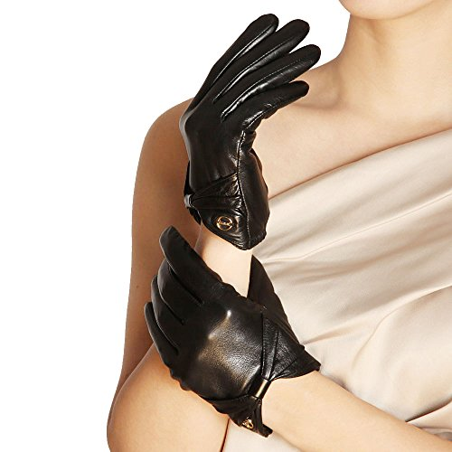 Elma手首Nappaレザー駆動手袋W / Elasticated Cuff Leather Bowゴールドメッキロゴ