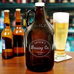 Engraved Beer Growler, Amber, 64 oz.