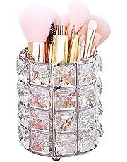 Bunahome Kristal Zilver Make-up Borstel Houder, Make-up Wenkbrauw Borstel Houder Organizer Pen Potlood Cup Opslag Organizer Container