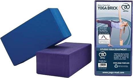 Amazon.com : Yoga-mad Hi Density Eva Yoga Bricks - Blue ...