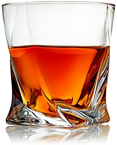 Venero Crystal Whiskey Glasses - Set of 4 - Tumblers for Drinking Scotch, Bourbon, Cognac, Irish Whisky - Large 10 oz Premium Lead-Free Crystal Glass Tasting Cups - Luxury Gift Box for Men or Women -