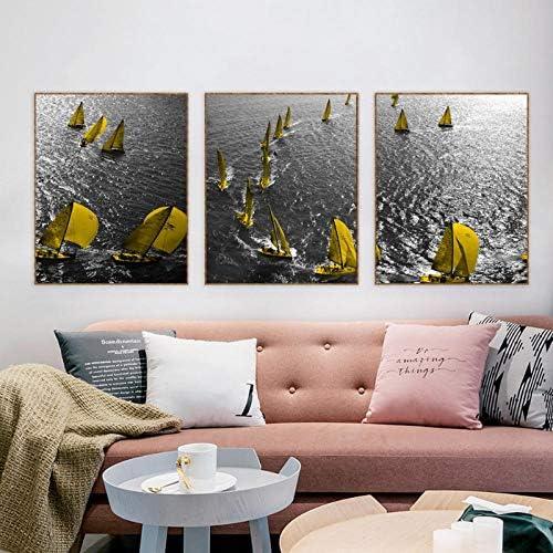 キャンバス書道絵画川のボートのポスターと版画、リビングルームのホームデコレーションの写真のための壁のアートワーク56x70cmx3なしフレーム