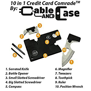 Fathers Day Gifts - Credit Card Tool Set - Best Army Tactical Multitool Pocket Knife Set By Cable And Case - Survival Wallet With Blade - Multi-tool Gift For Dad, Mom, Husband, Wife, Brother Or Sister