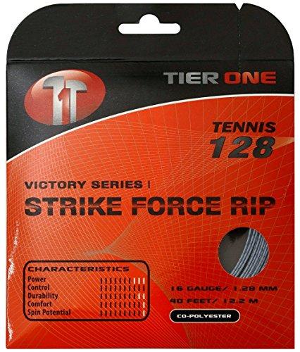 Tier One Strike Force RIP Co-polyester Tennis String (Set - Gray, 16 gauge (1.28 mm) - 12.2 m set)
