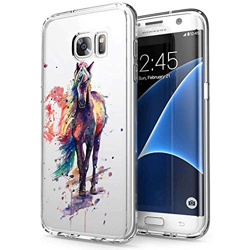 Case for Samsung Galaxy S7 ,Watercolor Horse Crystal Clear Soft Case with Pattern Printed Transparent Protective Back Cover Case Protective TPU Thin Cover Transparent Slim Anti Slip Case (3f Watercolor)