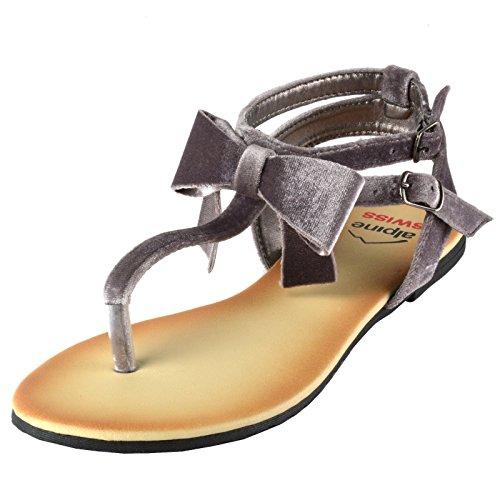 Sandali Con Fiocco In Velluto Da Donna Svizzero Alpino Sandali Con Tacco A Strappo  Per Gladiatore f91b27944b8
