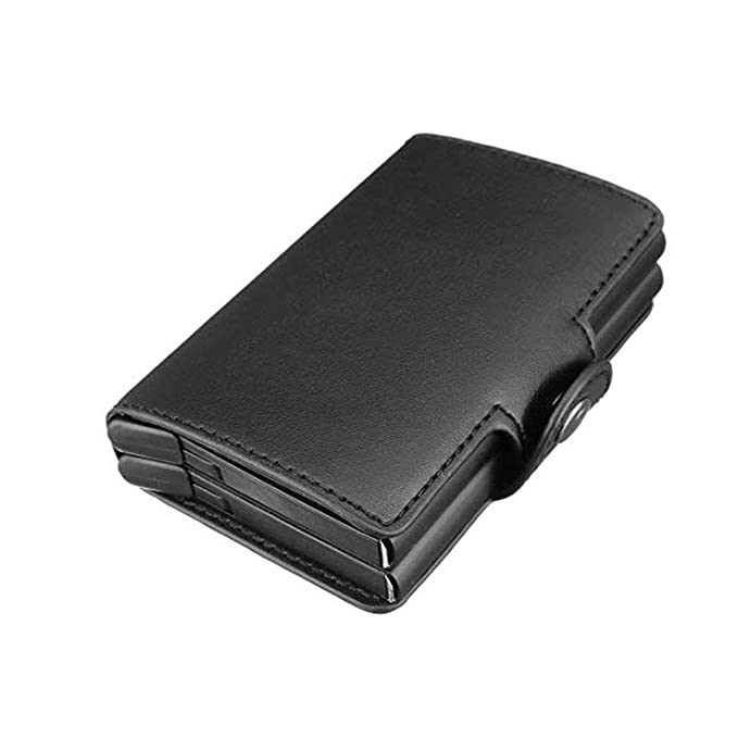 UNYU RFID Credit Card Holder - Cartera para hombre Hombre Negro Black Smooth Leather Talla única: Amazon.es: Ropa y accesorios