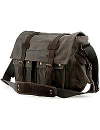GEARONIC Men s Messenger Bag Laptop Satchel Vintage Rucksack Shoulder  Leather Crossbody 9e804b3ad5c21