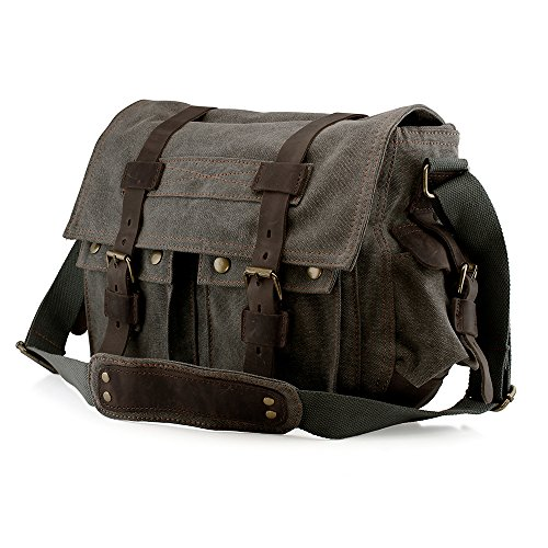 GEARONIC TM Men's Vintage Canvas Leather Tote Satchel School Military Shoulder Messenger Sling Drawstring Rucksack Crossbody Hiking Bag Backpack For Toiletry Gym Travel Work Laptop Slate (Satchel Bag)