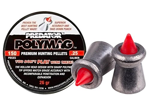 Polymag Predator Polymag Air Gun Pellets (Gray/red, .25 Caliber)