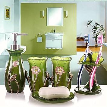 Accessori per bagno HJKY set Set da bagno a cinque pezzi da bagno Accessori per bagno da bagno per matrimoniali Cestini continentali Resina a crema professionale a lavaggio, Bianco HJKY bathroom accessories set