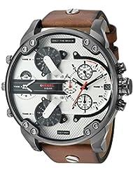 Diesel Mens DZ7394 Mr. Daddy 2.0 Gunmetal IP Brown Leather Watch