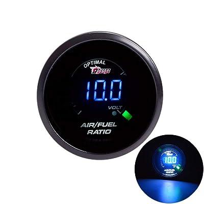 """SINOVCLE Universal Electronic Car Gauge 2"""" 52mm AIR/Fuel Ratio Gauge Car Meter Blue LED Digital Display Gauges Black Shell for 12V Car: Automotive"""