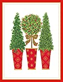 Entertaining with Caspari Topiaries Embossed Christmas Cards, Box of 10