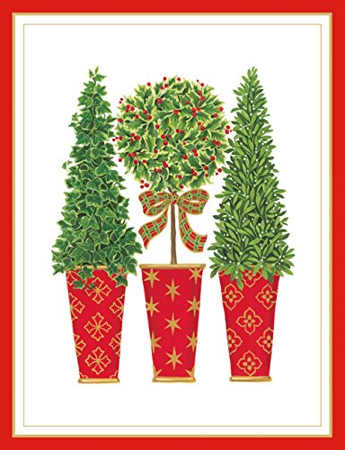 Entertaining with Caspari Topiaries Embossed Christmas Cards, Box of 10 (Topiary Card)