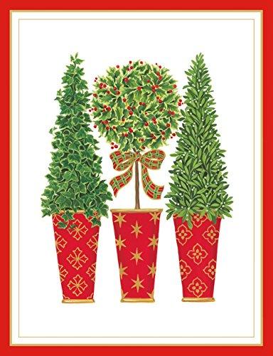 Entertaining with Caspari Topiaries Embossed Christmas Cards, Box of 10 by Entertaining with Caspari