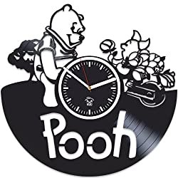 Winnie the Pooh, Tiger, Cartoon Disney, Vinyl Wall Clock, Best Gift for Kids, Girl, Boy Vinyl Record, Kovides, Office Decoration Living Room Inspirational, Silent Mechanism, Wall Sticker, Modern Art