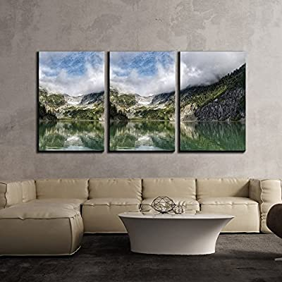 Amazing Design, Professional Creation, Beautiful Mountain Landscape with Reflection in The Lake x3 Panels