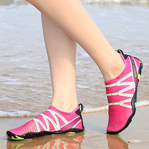 Pengcheng Uomini Donne Sport Acquatici Scarpe Pelle A Piedi Nudi Quick-dry Aqua Yoga Calze Slip-on Scarpe Per Nuotare Spiaggia Piscina Surf 101 # Rosa Rossa