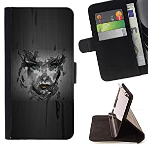 DEVIL CASE - FOR Apple Iphone 4 / 4S - Girl Camo Portrait - Style PU Leather Case Wallet Flip Stand Flap Closure Cover