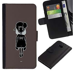 All Phone Most Case / Oferta Especial Cáscara Funda de cuero Monedero Cubierta de proteccion Caso / Wallet Case for HTC One M8 // Black & White Cute Girl