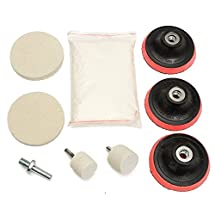 KINGSO Glass Scrach Remover Polishing Kit With Felt Wheels, 8 OZ Cerium Oxide Compound