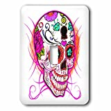 3dRose lsp_193528_1 Diamond Sugar Skull Pink Light Switch Cover