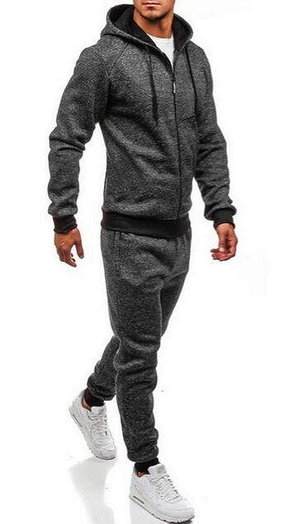 6075abbb88 Fubotevic Men Hooded Jacket Jogger Pants 2 Pcs Outfits Athletic Sweatsuits  Tracksuits Sets at Amazon Men s Clothing store