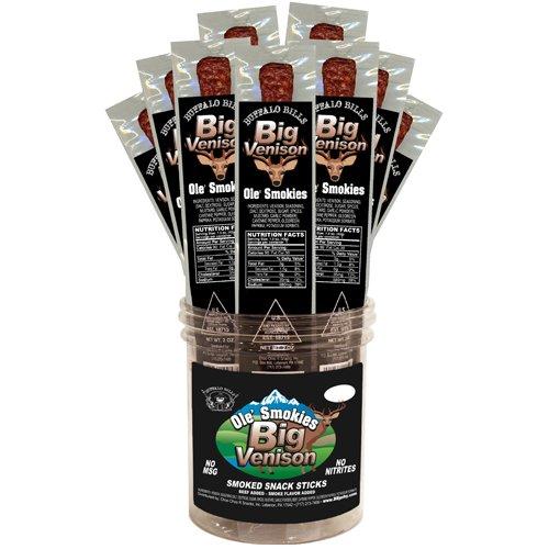 Buffalo Bills Big Venison Individually Wrapped 1.5oz Ole' Smokies (16 venison sticks per tub)