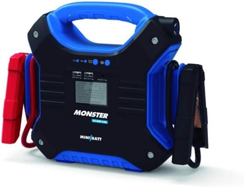 MONSTER - Miniarrancador para coches 35.000 mAh de MiniBatt- Especial para camiones, barcos, aviones... 24V. Incluye pinzas de arranque inteligentes.