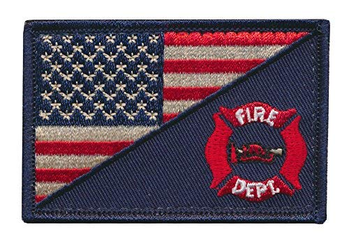 - Tactical USA Flag Patch / USA Firefighter Firefighting Department Embroidered Patch