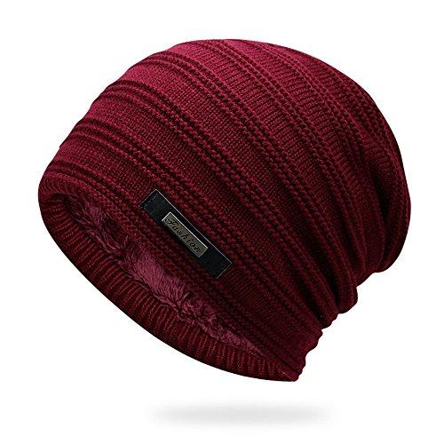 Zegoo Winter Fleece Lined Beanie Hat Thick Skull Cap Burgundy