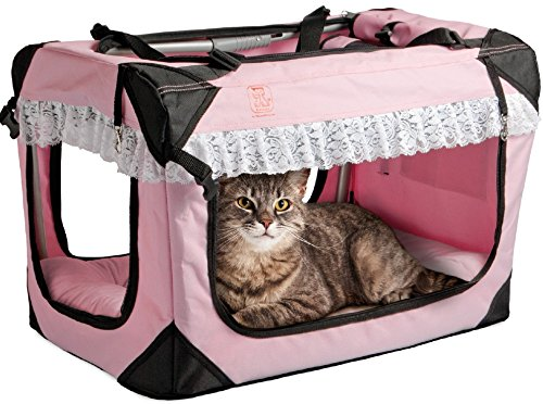 PetLuv Soothing Happy Cat Premium Soft Sided Cat Carrier & Travel Crate - Locking Zippers, Plush Nap Pillow, 2X Interior Room, Airy Windows, Sunroof - Reduces Anxiety (20'' x 13'' x 13'') by PetLuv