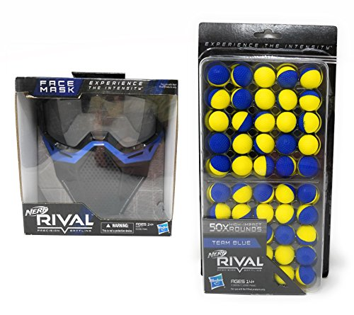 Nerf Rival Face Mask and 50 Round Refill Pack Bundle, Blue