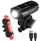 Rechargeble LED Bike Lights Set,Teorder 2000mAh Lithium Battery Cycling Headlight,LED Bicycle Lights Front and Rear Waterproof Reflector,1000lm,4 Light Modes(Mount Accessories & 2 USB Cable)