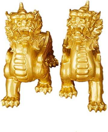 Feng Shui Resin Single Corner Pixiu Pi Yao Statue Home Office Decoration Symbol for Wealth(Gold)
